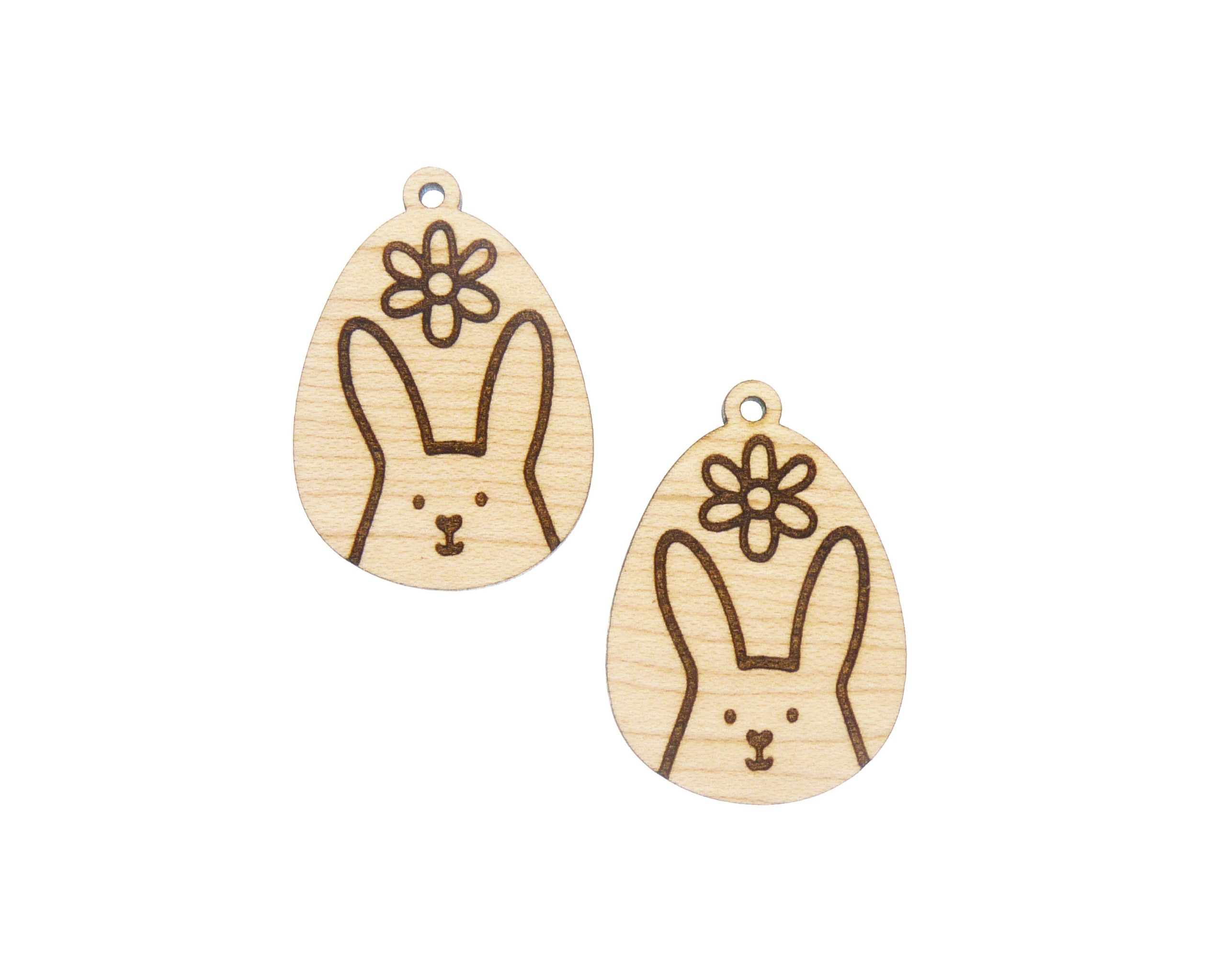 Bunny Rabbit with Flower Engraved Wood Drop Charms