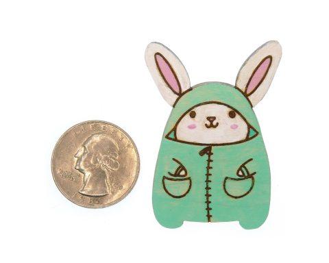 Bunny Rabbit in Pajamas Maple Hardwood Pin | Hand Painted