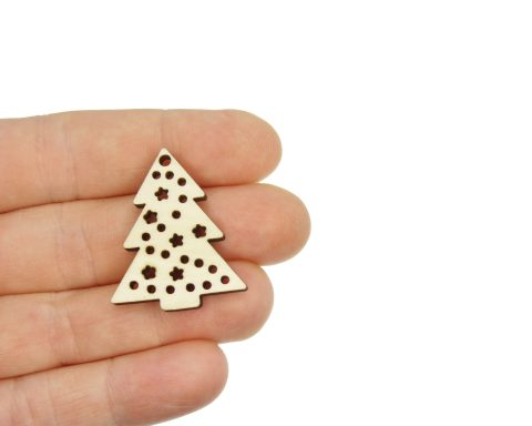 Christmas Trees with Stars Blank Wood Drop Charms