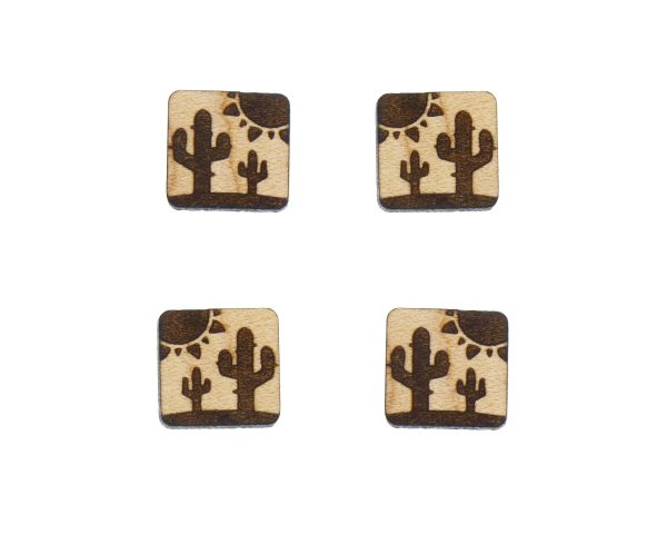 Cactus Desert Scene Engraved Wood Cabochons
