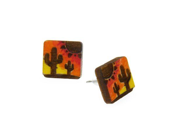 Cactus Desert Sunset Maple Hardwood Stud Earrings   Hand Painted