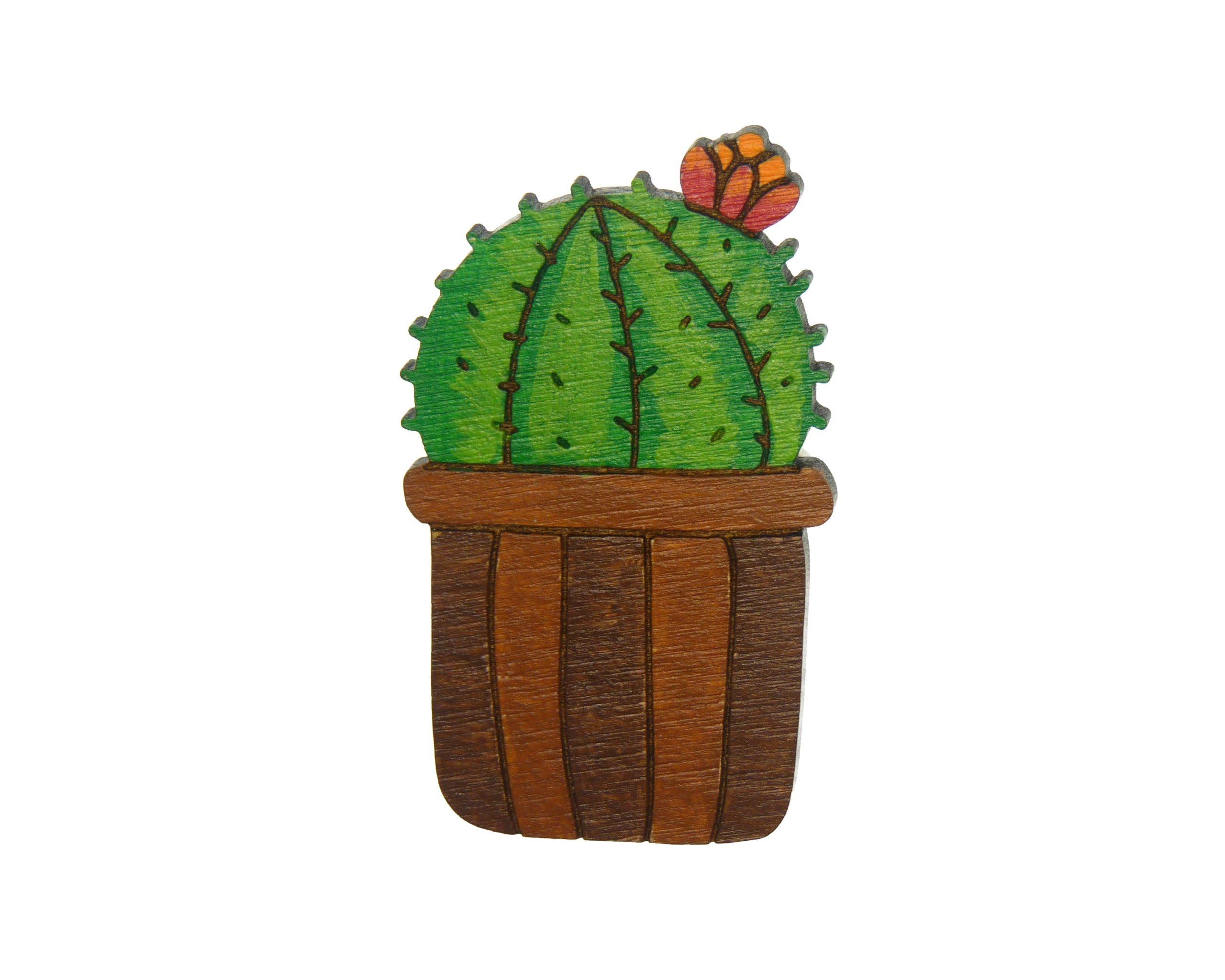Flowering Cactus Maple Hardwood Pin | Hand Painted