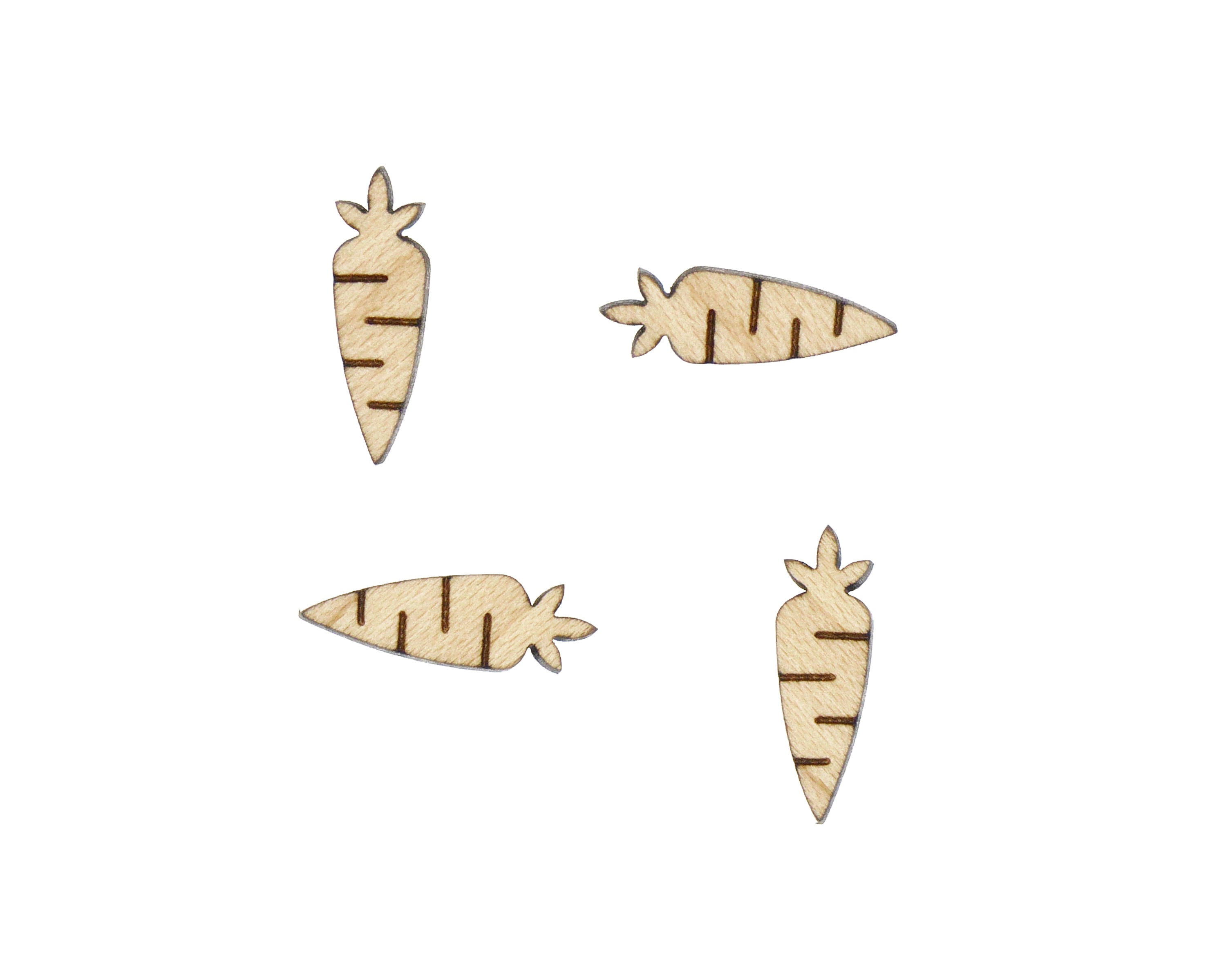 Carrots Engraved Wood Cabochons