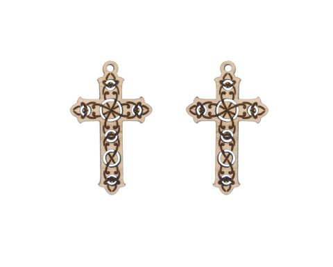 Celtic Crosses Engraved Wood Drop Charms