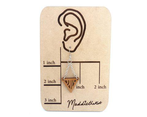 Geometric Triangles Wood & Chain Earrings – Choose Wood