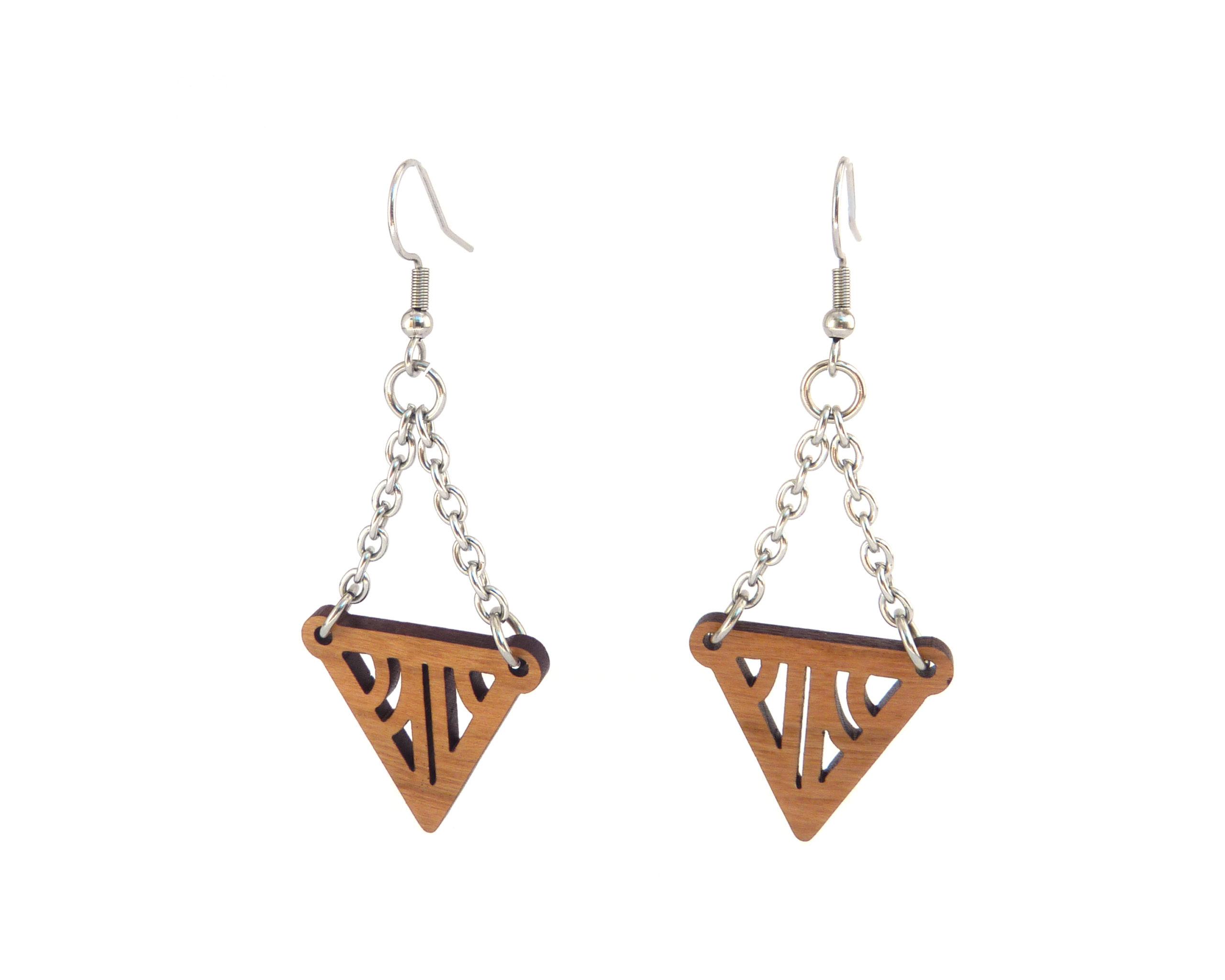 Geometric Triangles Chain Drop Wood Earrings - Choose Wood