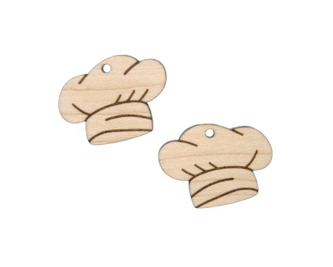 Chef Hats Engraved Wood Drop Charms