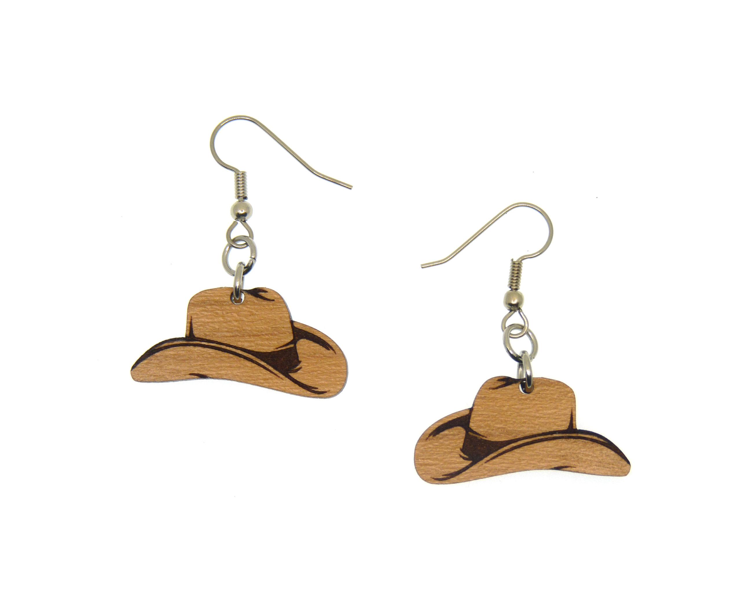 Cowboy Hats Cherry Wood Dangle Earrings