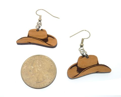 Cowboy Hats Cherry Wood Earrings