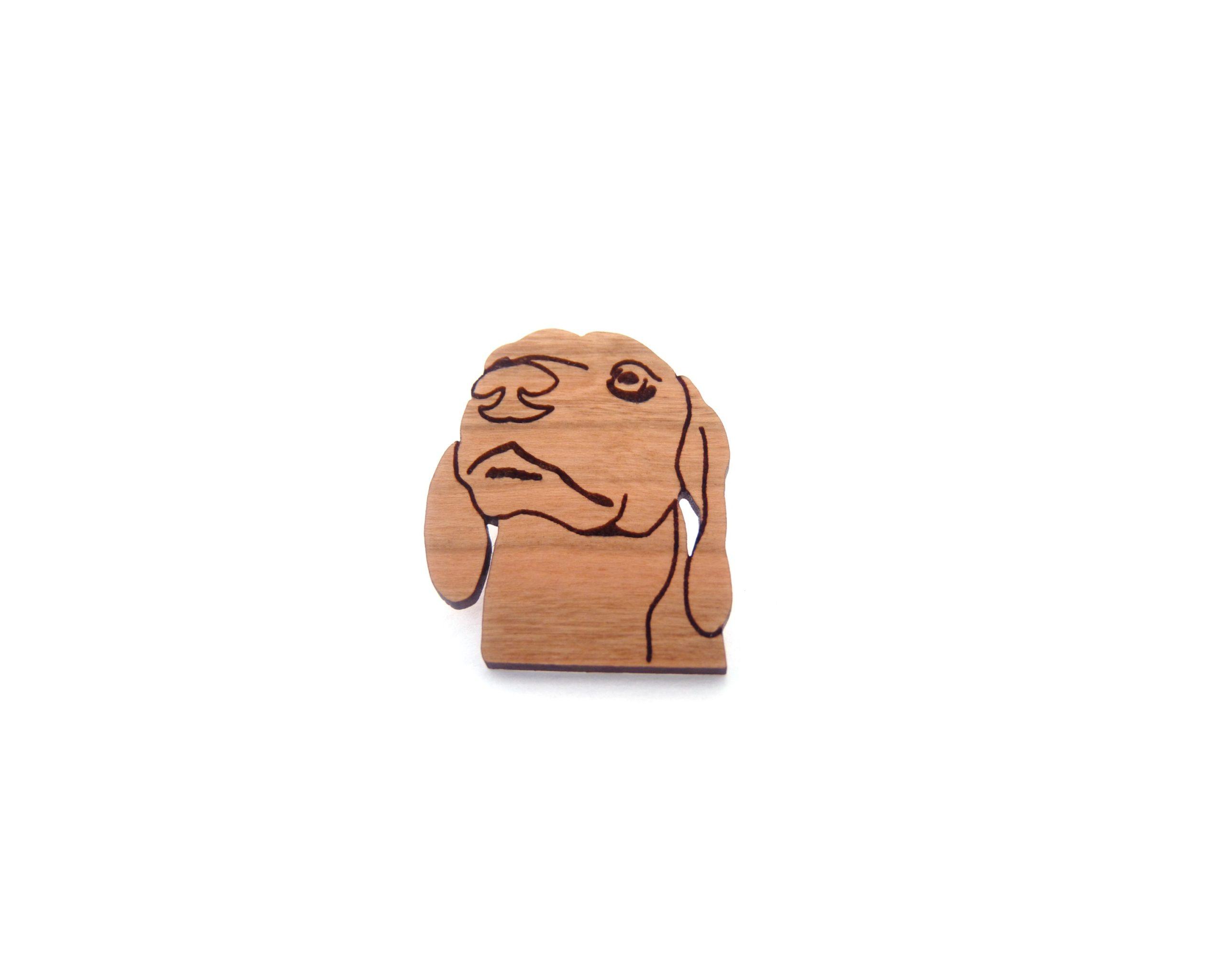 Dachshund Dog Maple Hardwood Pin | Hand Drawn