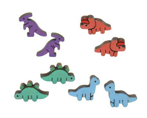 Dinosaurs Maple Wood Stud Earrings Set | Brachiosaurs, Stegosaurus, Parasaurolophus, Triceratops | Hand Painted