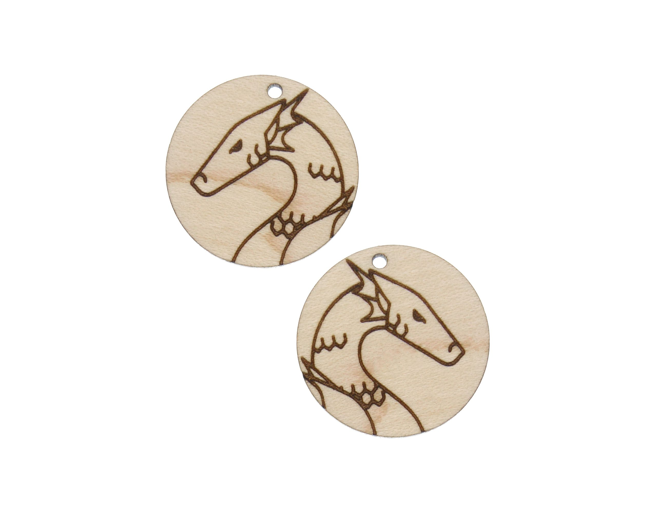 Dragons Engraved Wood Drop Charms