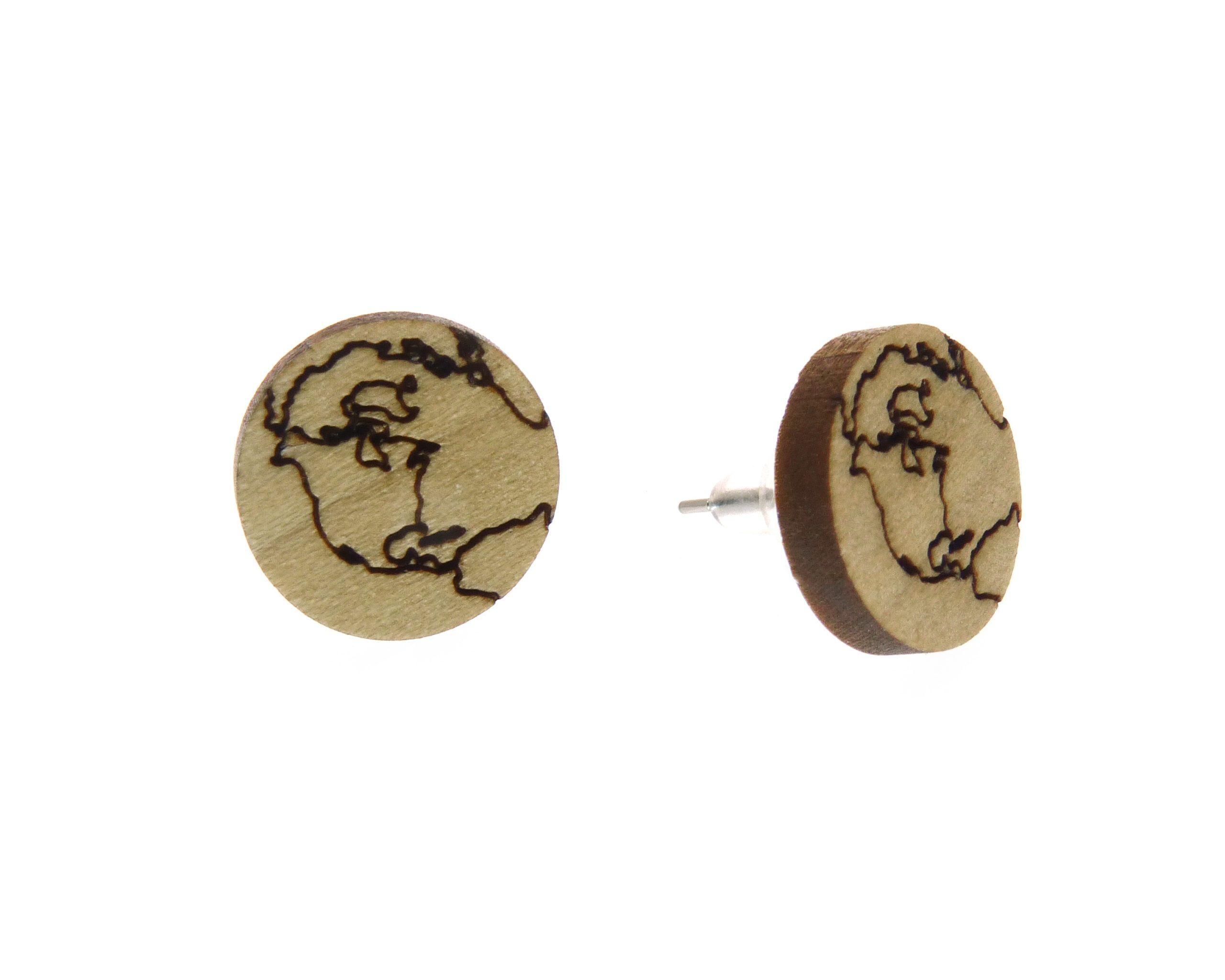 Earth Larger Poplar Hardwood Stud Earrings