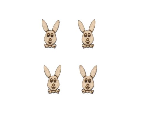 Bunny with Bowties Engraved Wood Cabochons