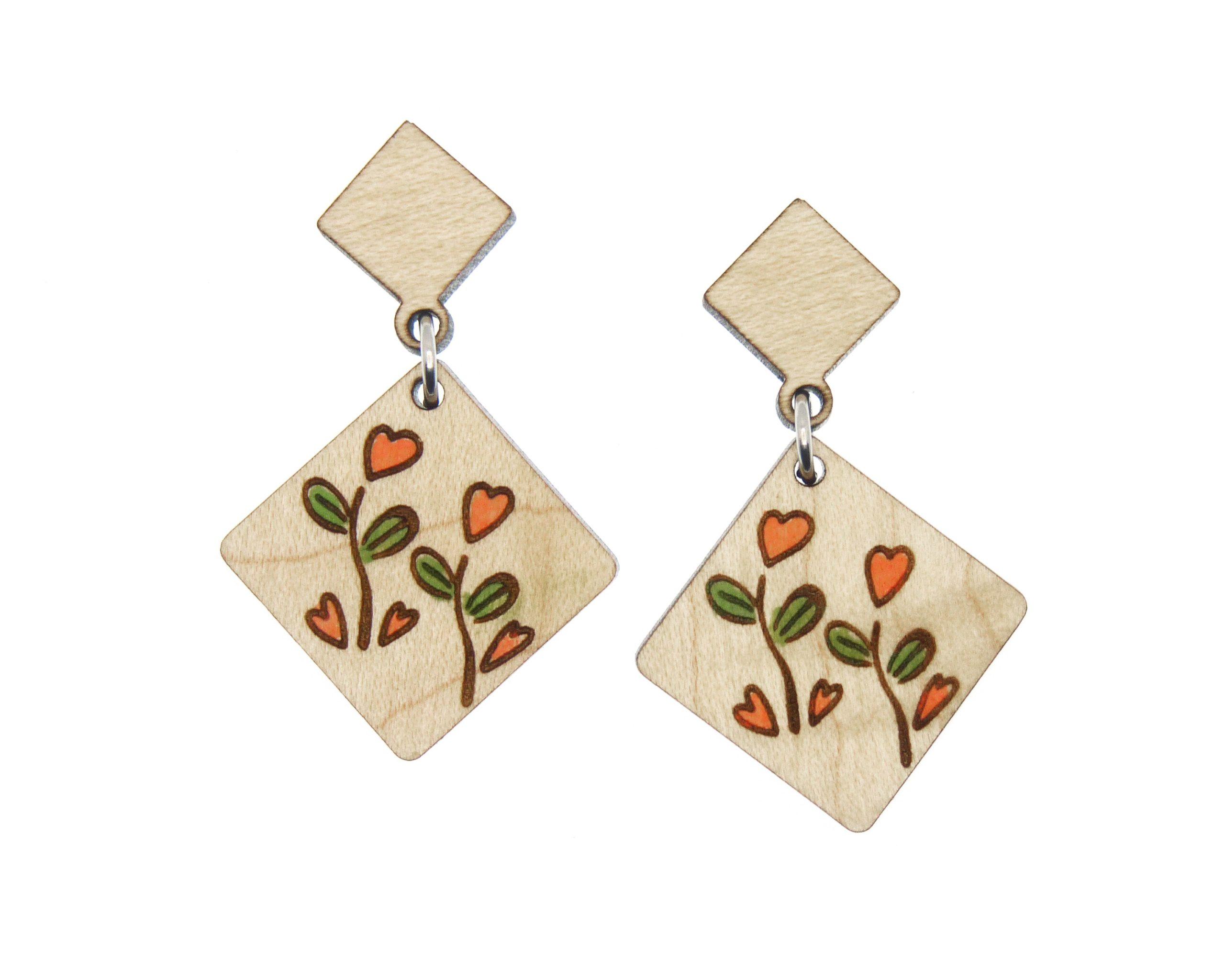 Heart Garden Maple Hardwood Stud Dangle Earrings   Hand Painted