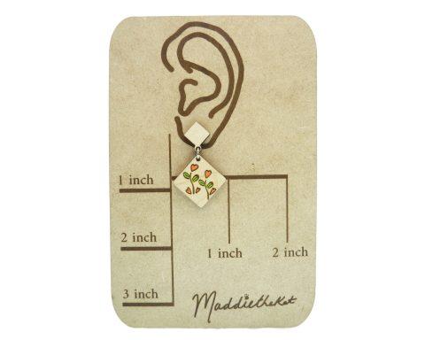 Heart Garden Maple Hardwood Stud Dangle Earrings | Hand Painted