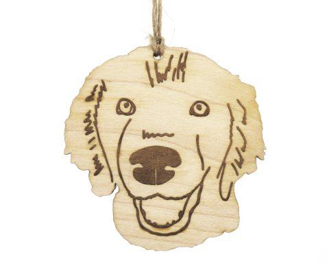 Golden Retriever Dog Maple Wood Ornament   Hand Drawn