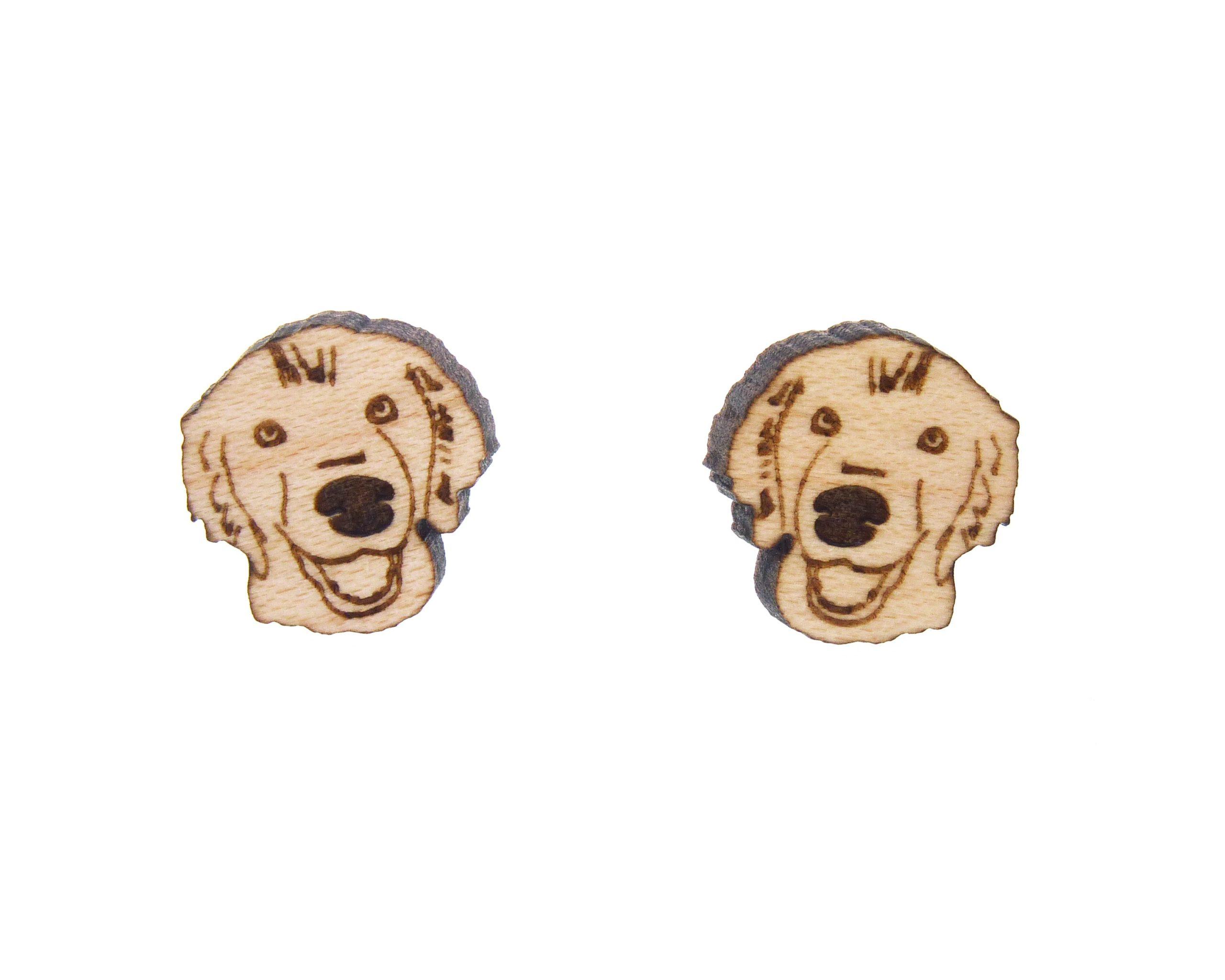 Golden Retriever Dog Larger Wood Stud Earrings   Hand Drawn