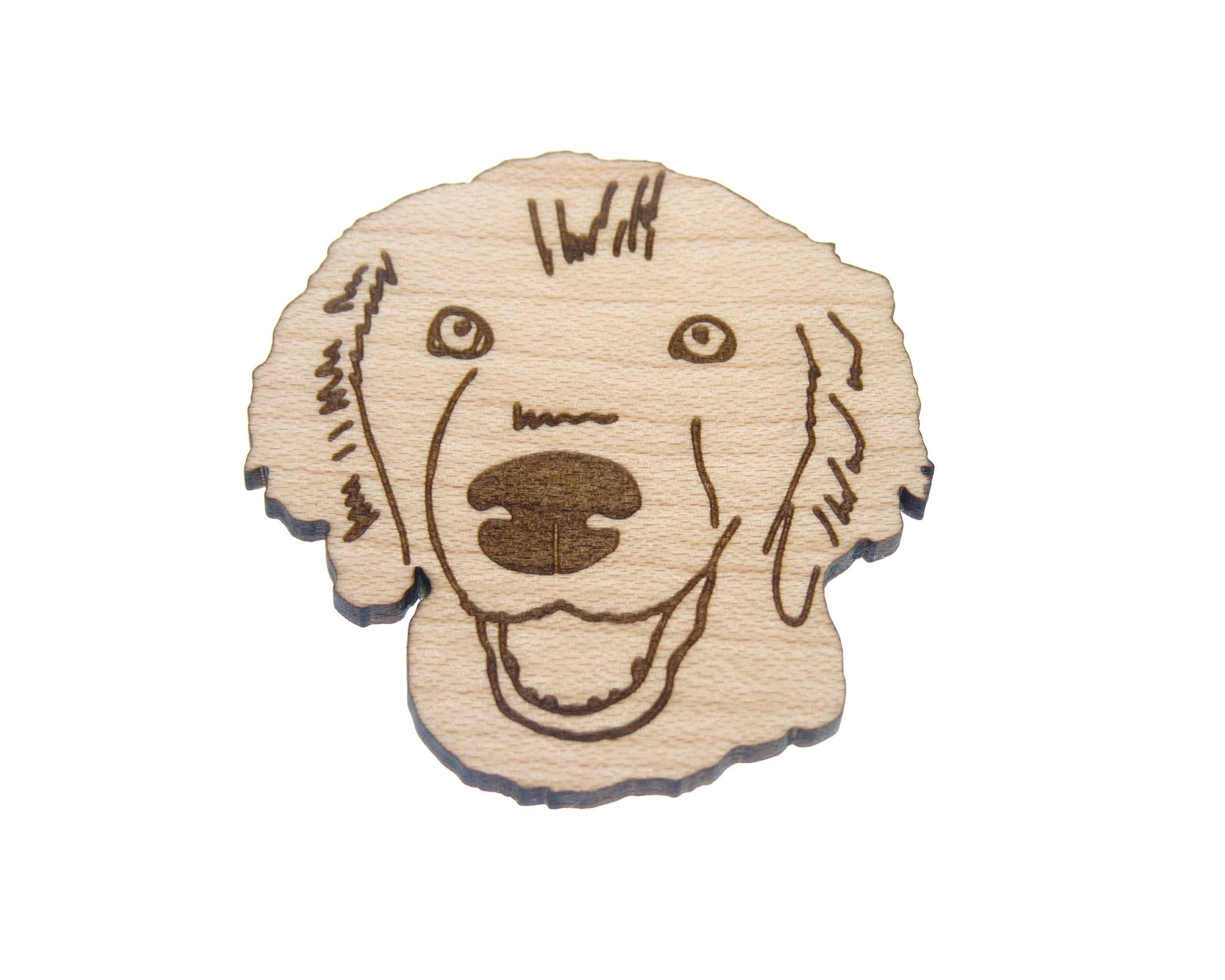 Golden Retriever Dog Maple Hardwood Pin | Hand Drawn