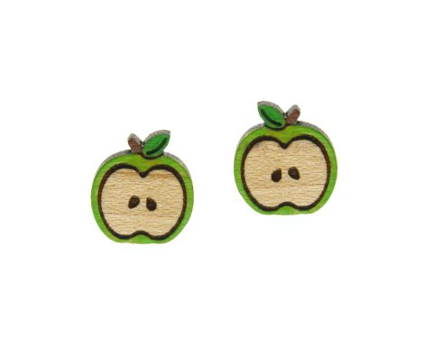 Apples Wood Stud Earrings | Hand Painted – Choose Color