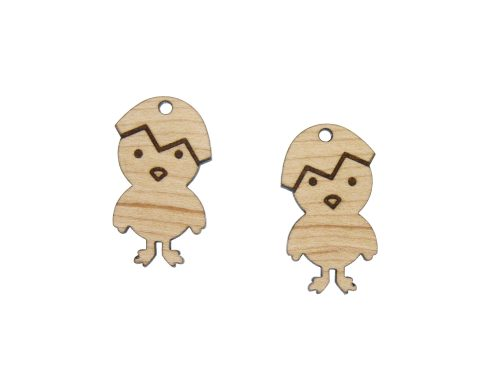 Hatched Chick Engraved Wood Drop Charms