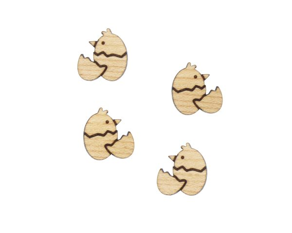 Hatched Chick Engraved Wood Cabochons