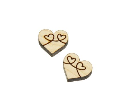 Heart Loops Engraved Wood Cabochons
