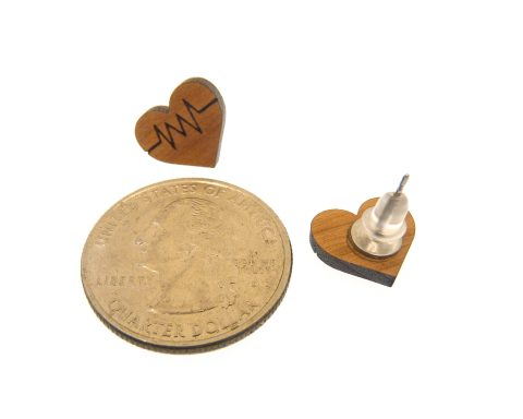 Heart Pulse Cherry Hardwood Stud Earrings