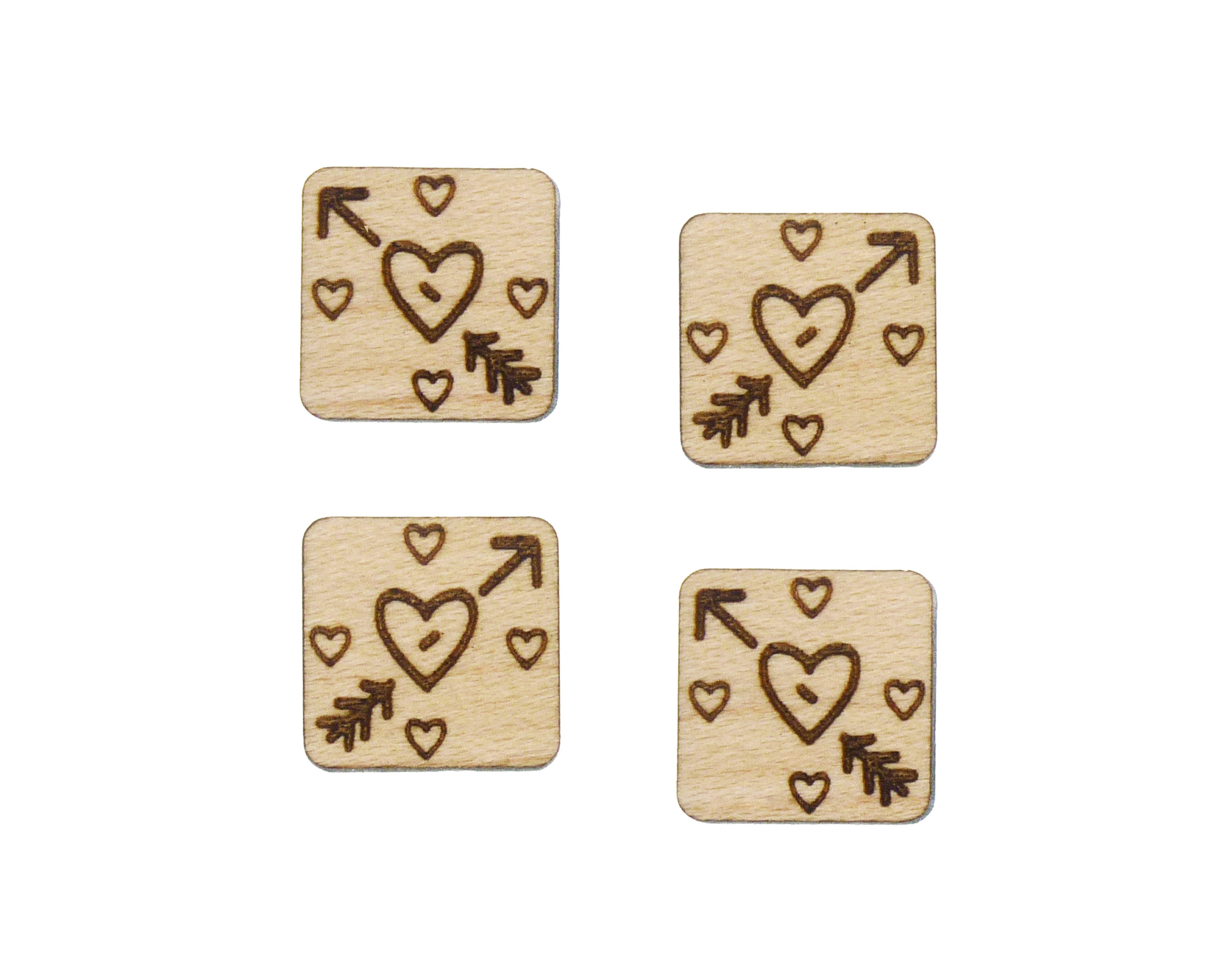 Hearts with Arrows Engraved Wood Cabochons