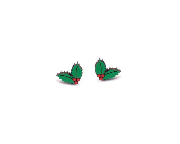Holly and Berries Wood Stud Earrings   Hand Painted