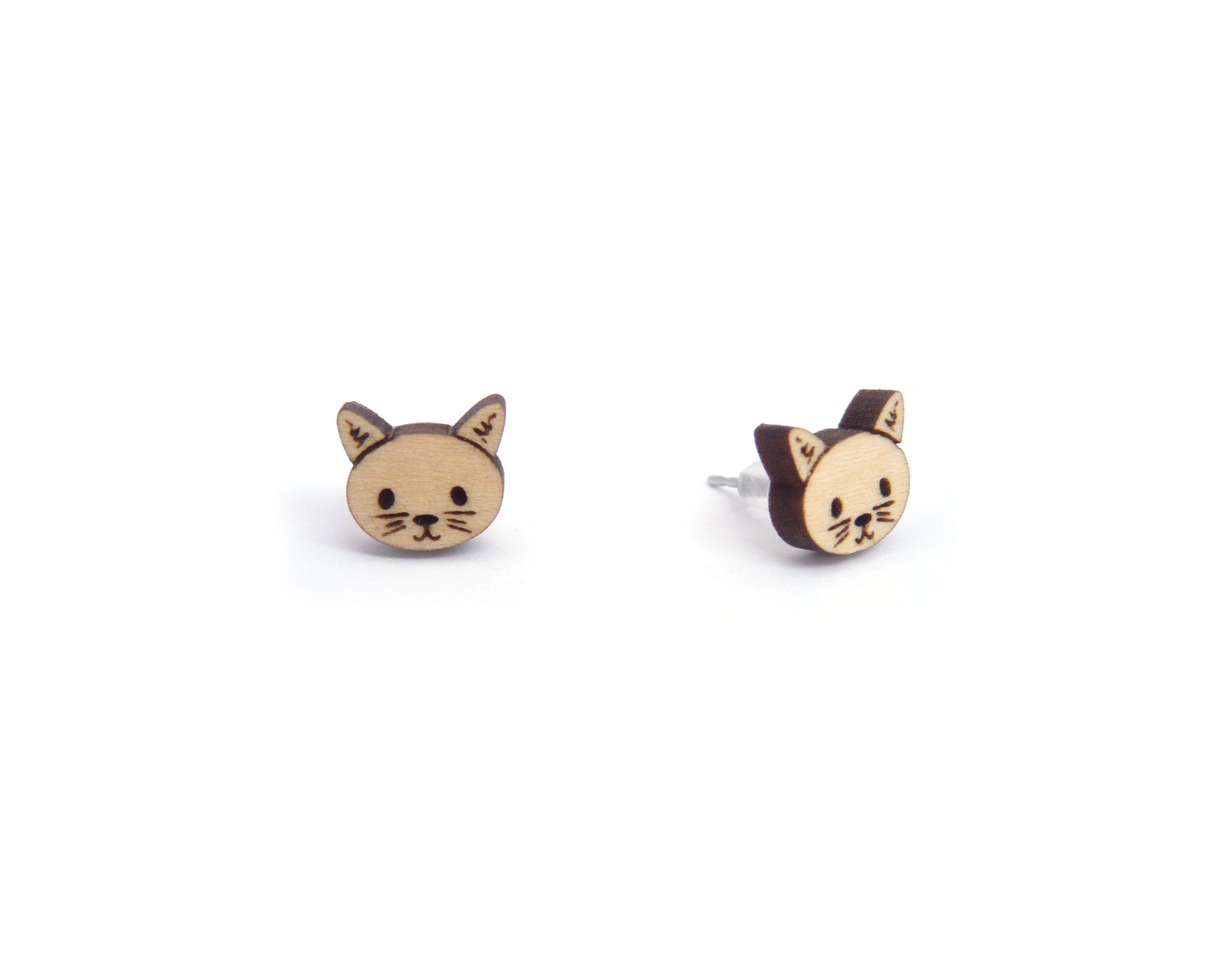Kawaii Cats Wood Stud Earrings