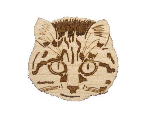 Cat Maple Hardwood Pin | Hand Drawn
