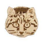 Cat Maple Hardwood Pin   Hand Drawn