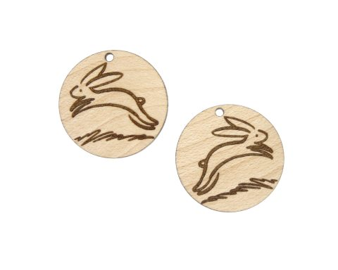 Leaping Bunny Rabbit Engraved Wood Drop Charms