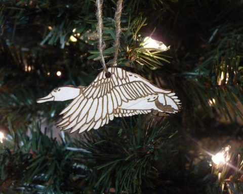Mallard Duck Maple Hardwood Ornament | Hand Drawn