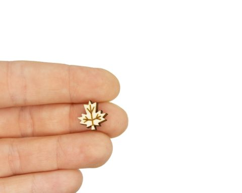 Maple Leaves Engraved Wood Cabochons
