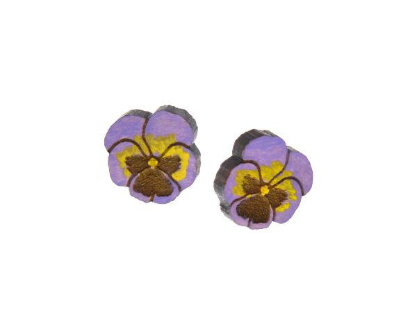 Pansy Flowers Wood Stud Earrings   Hand Painted