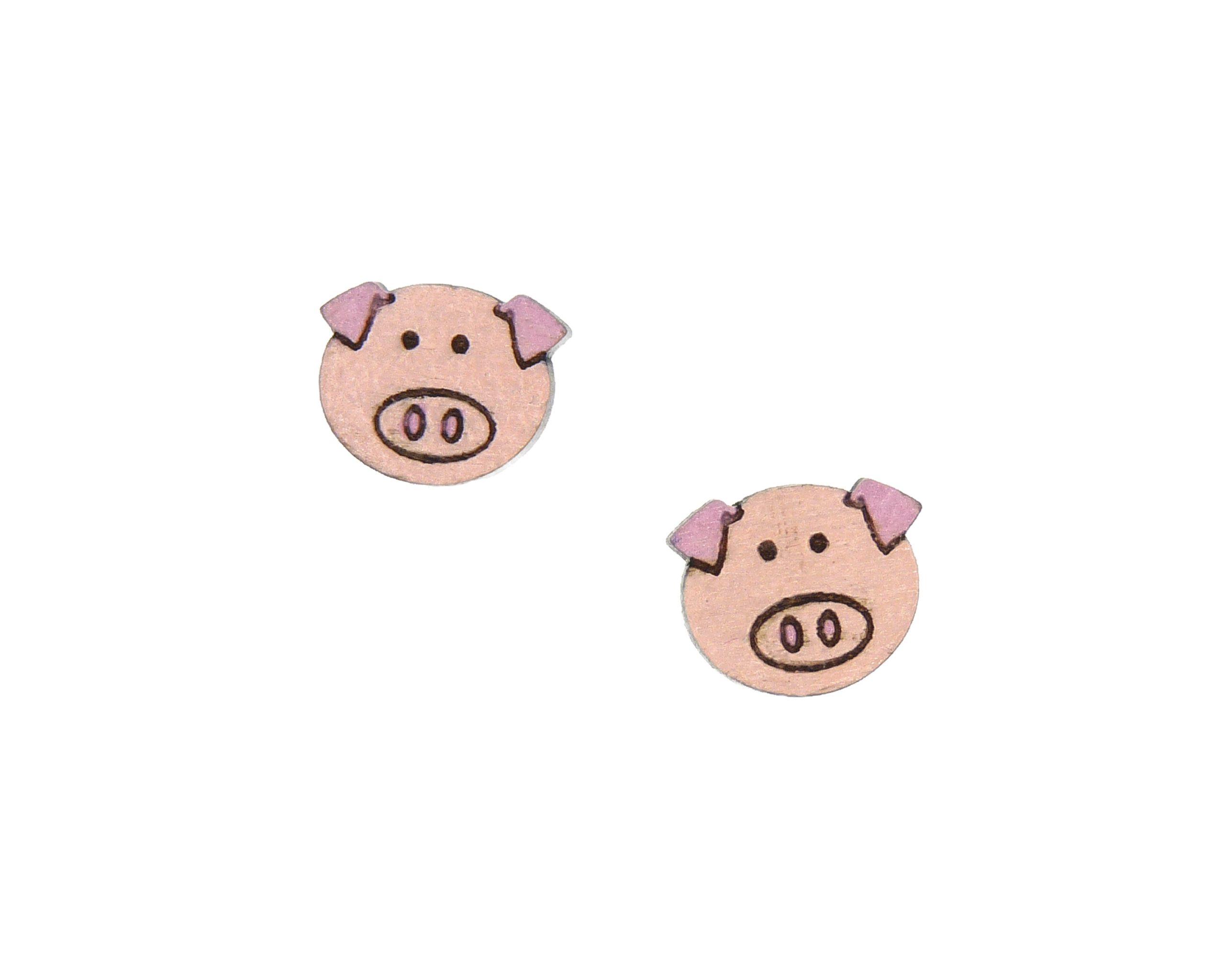 Pigs Maple Hardwood Stud Earrings | Hand Painted