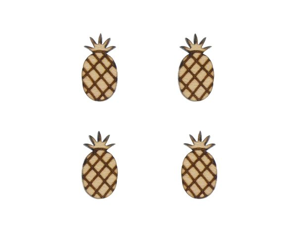 Pineapples Engraved Wood Cabochons