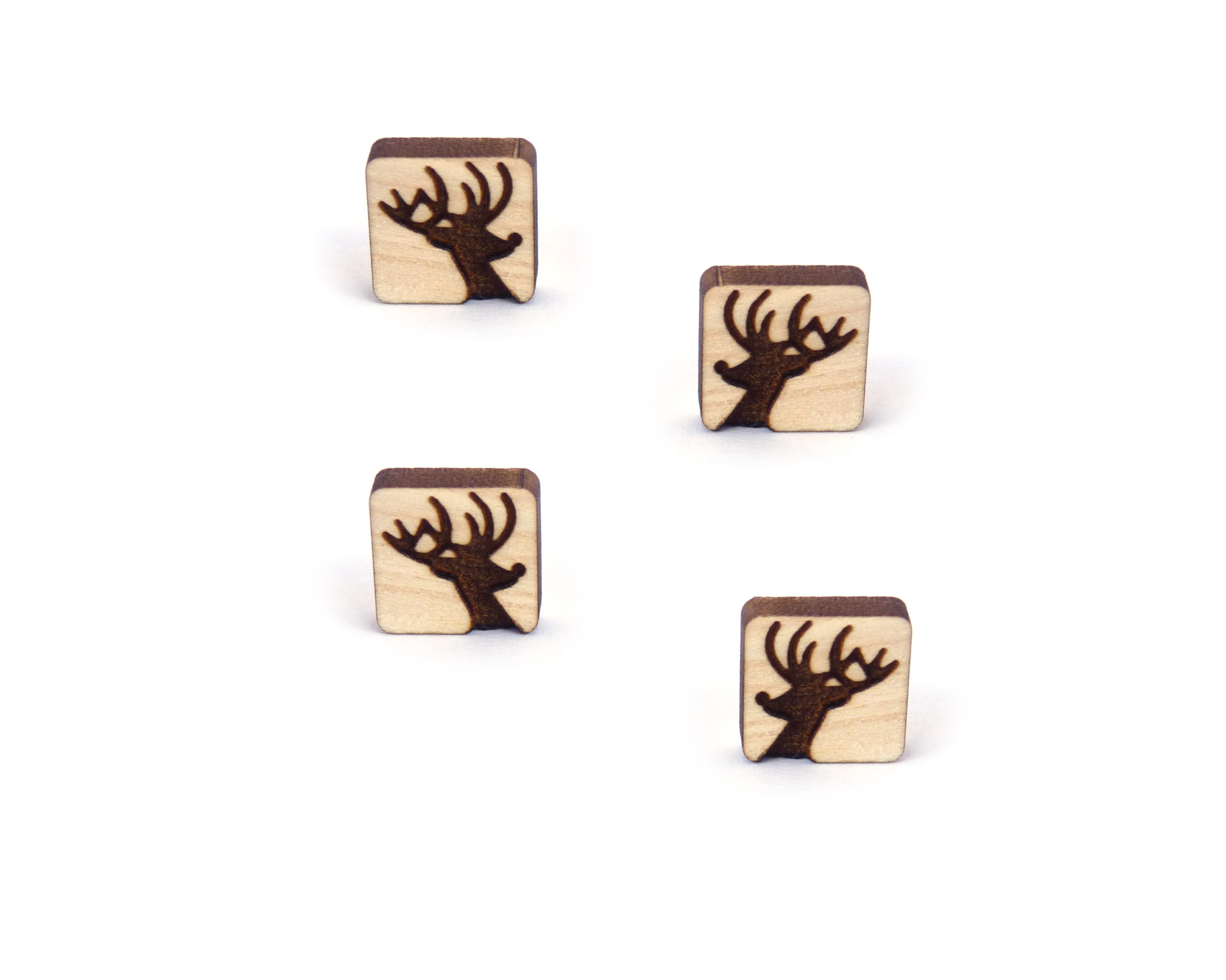 Rudolph Silhouette Engraved Wood Cabochons