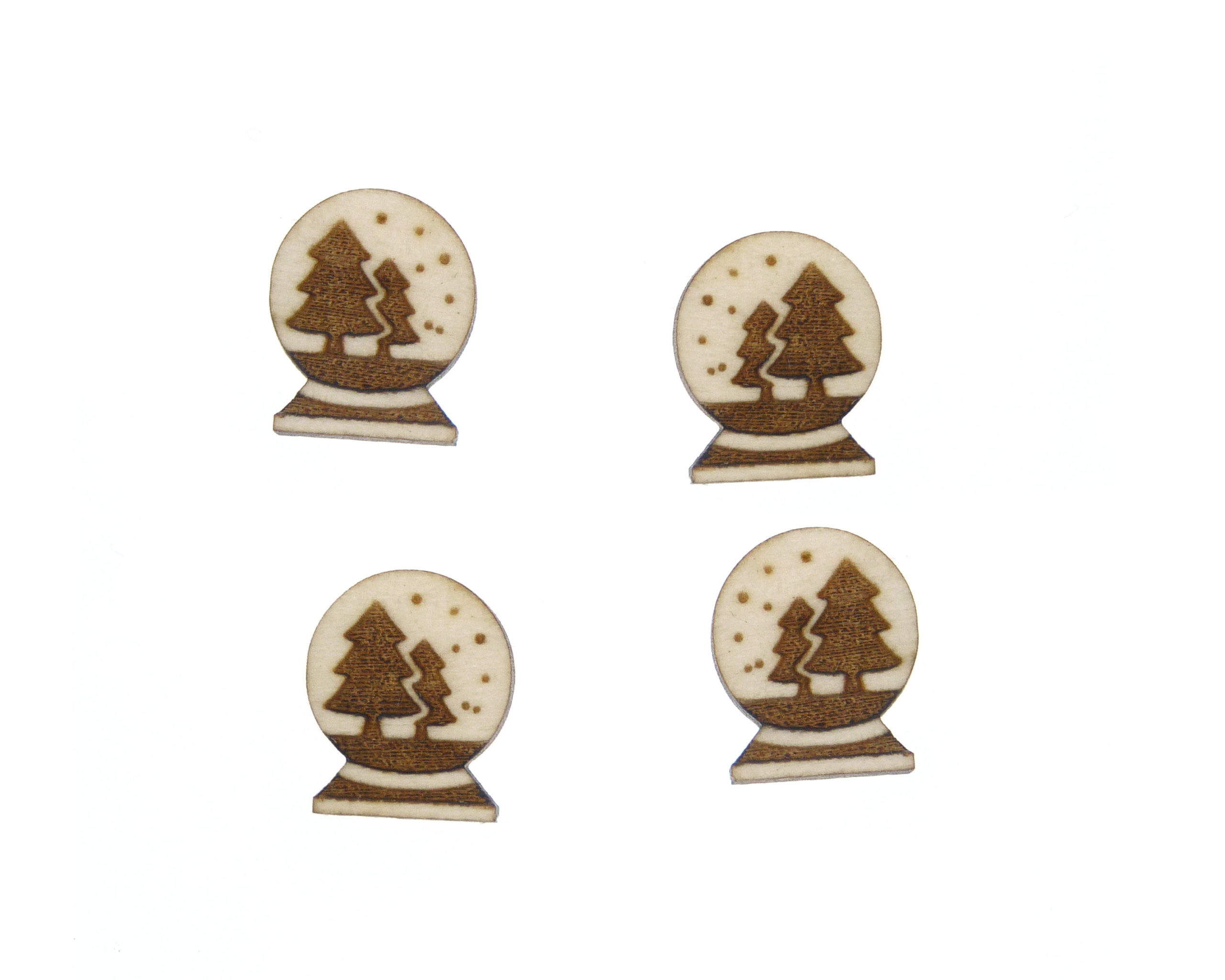 Snow Globe Trees Engraved Wood Cabochons