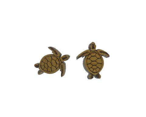 Sea Turtles Poplar Hardwood Stud Earrings