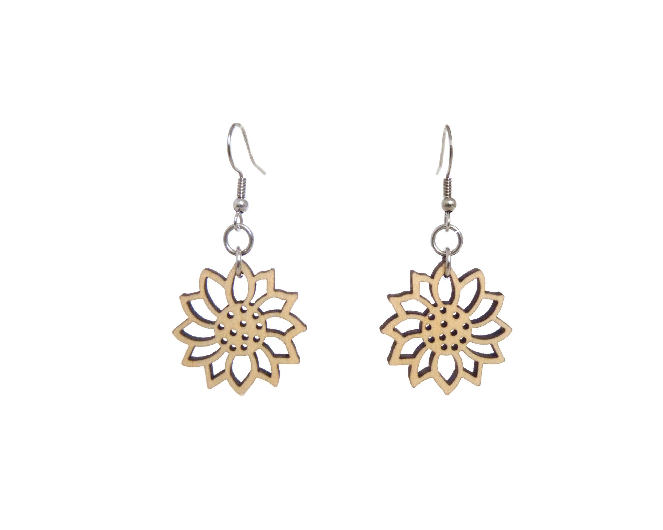 Simple Flower Wood Earrings
