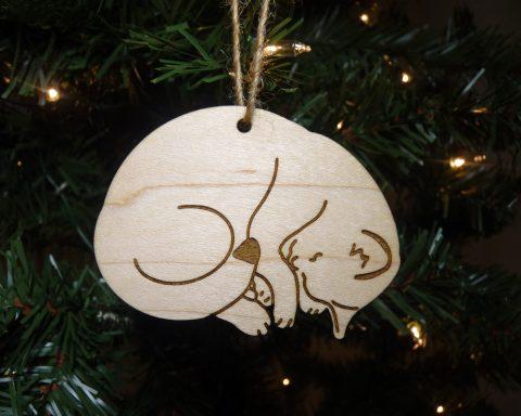 Sleeping Cat Maple Wood Ornament | Hand Drawn