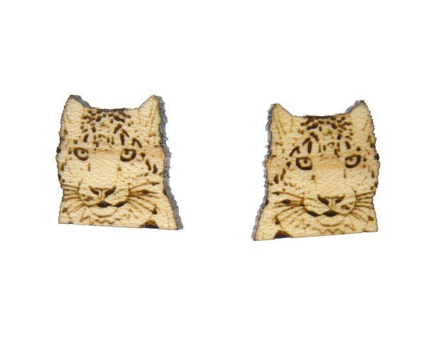 Snow Leopards Larger Wood Stud Earrings