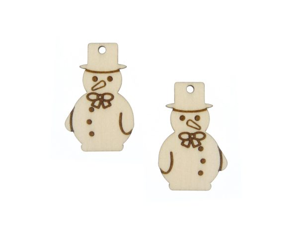 Snowman 04 Engraved Wood Drop Charms