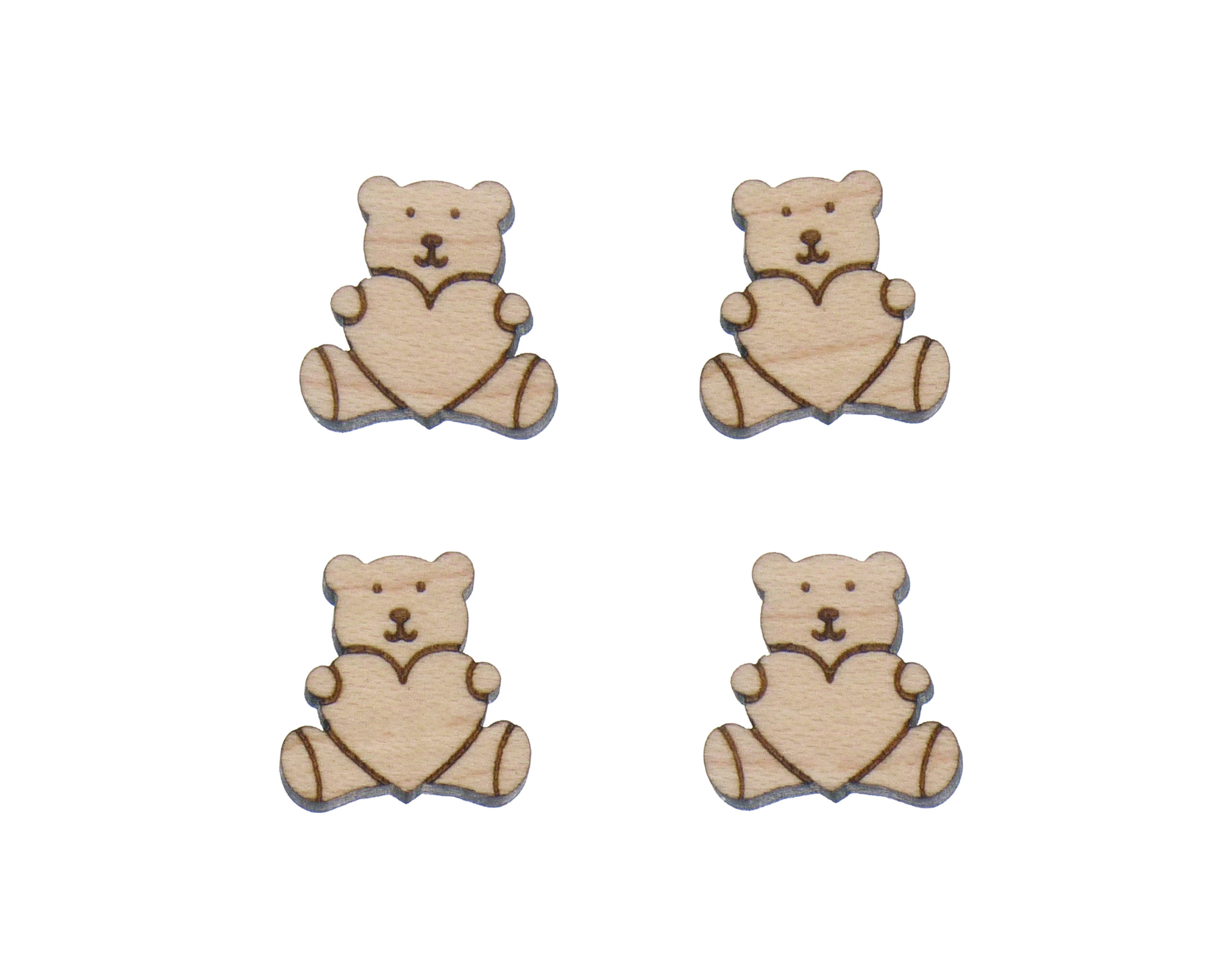 Stuffed Toy Bear with Heart Engraved Wood Cabochons