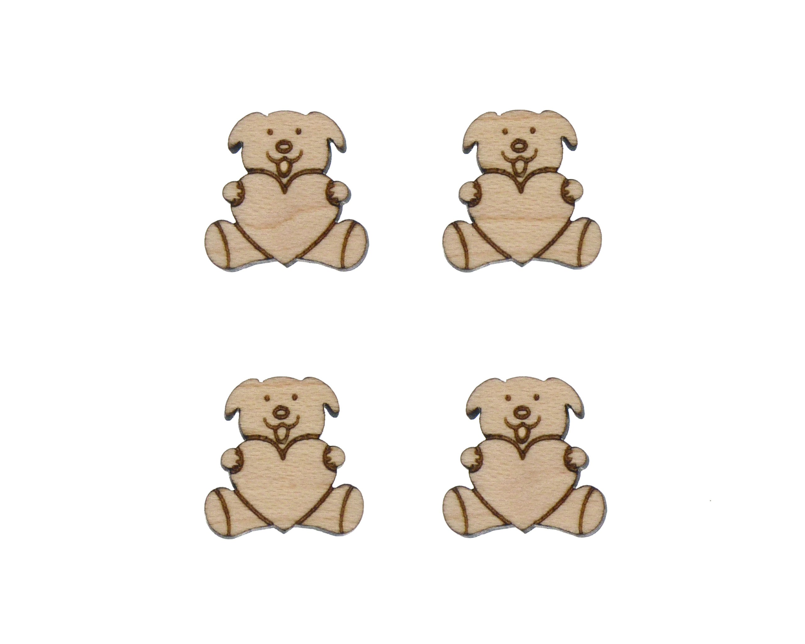 Stuffed Toy Dog with Heart Engraved Wood Cabochons