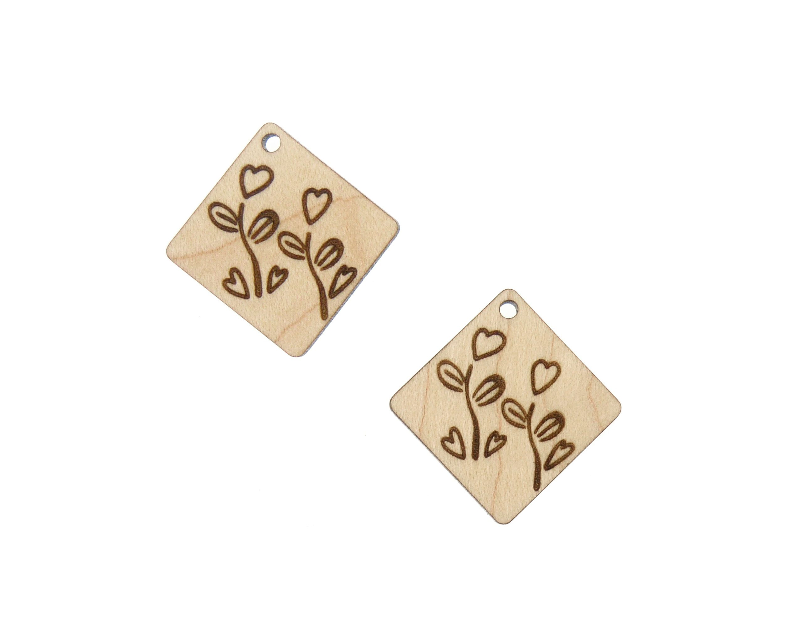 Heart with Garden Flowers Engraved Wood Drop Charms