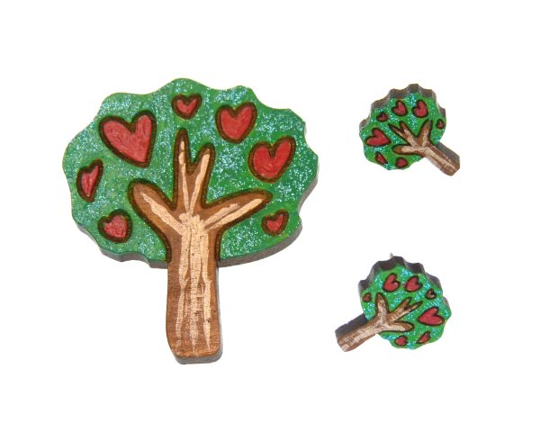 Trees with Hearts Maple Hardwood Earring Studs and Pin Set   Hand Painted